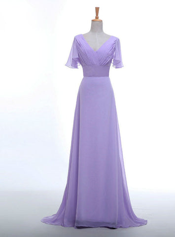 Long Women Elegant Lavender Color V-neck Short Sleeve Chiffon