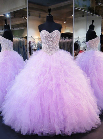 Purple Ball Gown Sweetheart Tulle Beaded Crystals Sweet 16 Dress