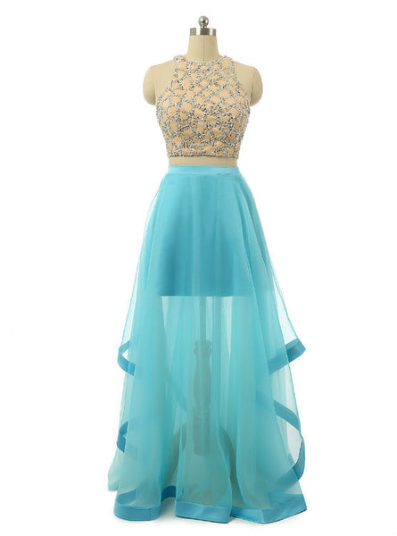 A-line Tulle Prom Dress with Sequin Beads Embellishment and Sheer Bottom Two Piece Sleeveless