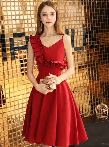 In Stock:Ship in 48 Hours A-line Satin Asymmetrical Neck Short Homecoming Dress