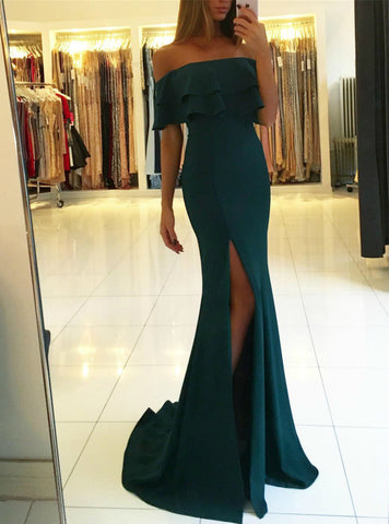 Dark Green memraid Satin Off the Shoulder Prom Dress With Side Split