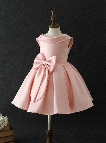 Pink Satin With Big Bow Flower Girl Dress