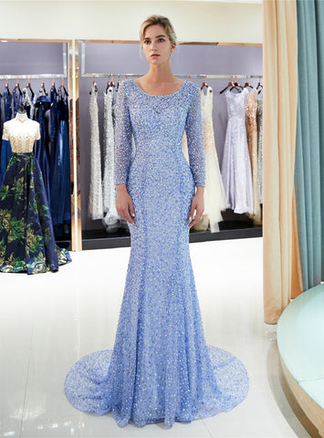 Blue Tulle Sequins Mermaid Backless Long Sleeve Floor Length Prom Dress