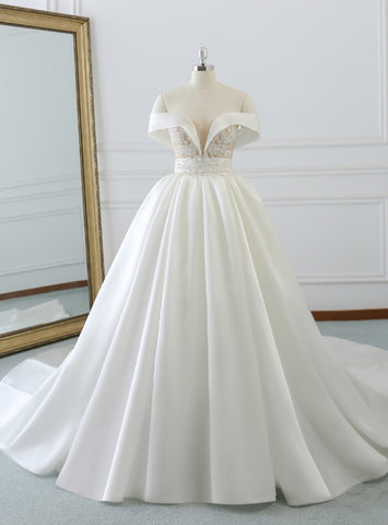 Hot Sale White Satin Off The Shoulder Appliques Beading Wedding Dress