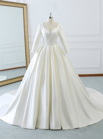 Fairy Tale Ivory White Satin Sweetheart Long Sleeve Wedding Dress