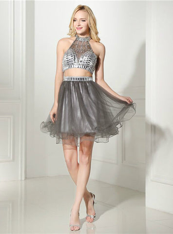 Gray Tulle Two Piece Halter Backless Crystal Knee Length Homecoming Dress