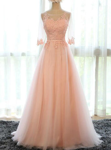 In Stock:Ship in 48 hours Half Sleeve Tulle Long Prom Dress