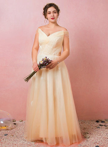 Plus Size Yellow Tulle Off The Shoulder Lace Floor Length Prom Dress