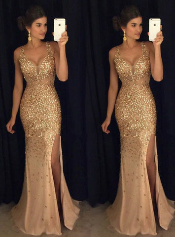 Lovely 2017 Beading Mermaid V-neck Green Prom Dress