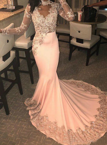 Sexy Pink Mermaid Satin Long Sleeve High Neck Lace Appliques Prom Dress
