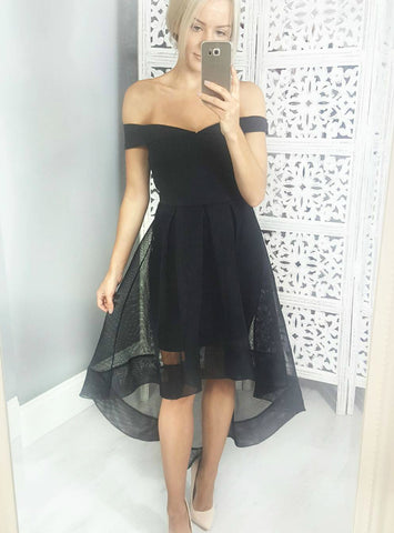 A-Line Black Off The Shoulder Hi Lo Homecoming Dress