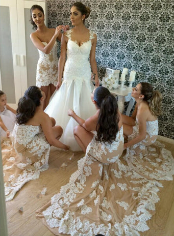 Simple Lace Bridesmaid Dress High Low Bridesmaid Gown Bridesmaid Gowns