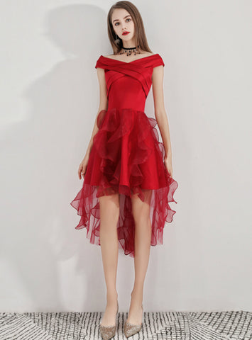 In Stock:Ship in 48 Hours Gorgeous Hi Lo Satin Organza Short Homecoming Dress
