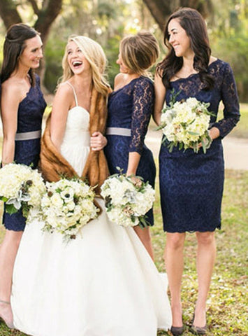 One Shoulder Long Sleeve Lace Navy Blue Knee Length Short Cheap Bridesmaid Dresses