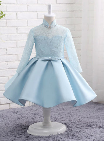 Light Blue Lace Dress Satin Long Sleeves Flower Girls Dresses