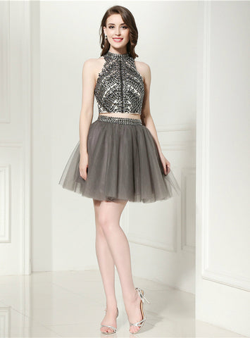 Gray Two Piece Halter Backless Tulle Beading Mini Homecoming Dress