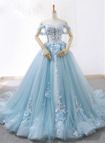 Blue Ball Gown Tulle Off The Shoulder Appliques Wedding Dress With Train