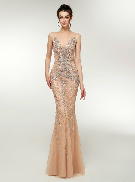 Champagne Tulle See Through Neck Floor Length Prom Dress With Crystal