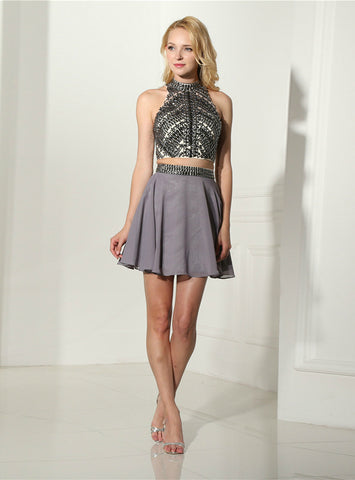 A-Line Gray Chiffon Halter Backless Two Piece Homecoming Dress