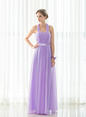 A-Line Light Purple Halter Chiffon Backless Pleats Bridesmaid Dress