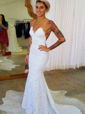 Cheap Mermaid Backless V Neck Lace Wedding Dresses