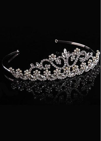 Fashion Glamorous Silver-plated Alloy Tiara With Rhinestones & Pearls