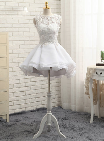 Pretty Short Wedding Dresses A-line Short Mini Appliques Chiffon Lace Vintage