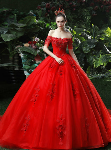 Fabulous Red Ball Gown Tulle Appliques Off The Shoulder Wedding Dress With Long Train