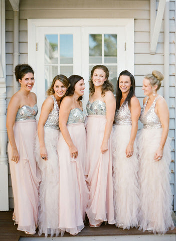 Romantic long bridesmaid dress sparkle bridesmaid dress pink