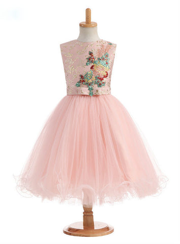 2017 A-Line Flower Girl Dresses Flowers Appliques Satin for Wedding
