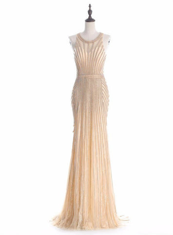 Princess 2017 Mermaid Halter Gold Evening Party Dress