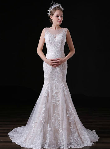 Champagne Lace Tulle Mermaid Sleeveless Long Wedding Dress