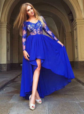 A-Line Chiffon V-Neck High Low Blue Appliques Long Sleeve Prom Dress