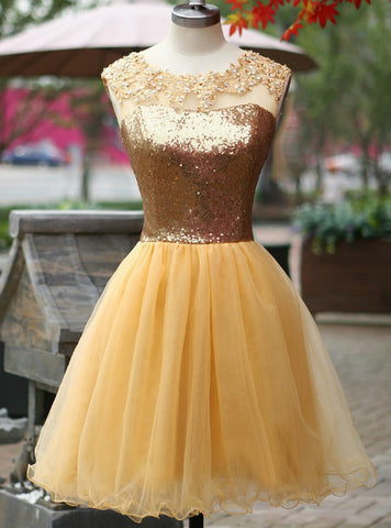 Hot Sale Gold Sequin Applique Homecoming Dresses