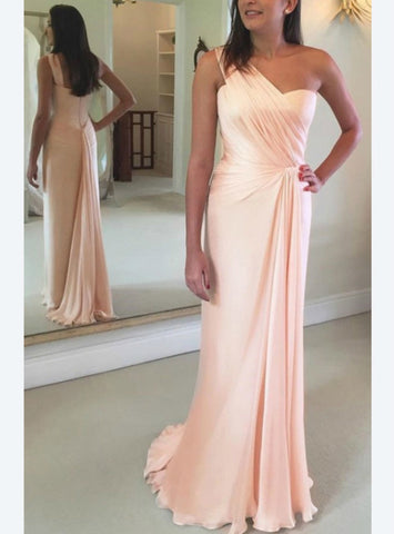 Simple A-Line Pink Chiffon One Shoulder Pleats Prom Dress