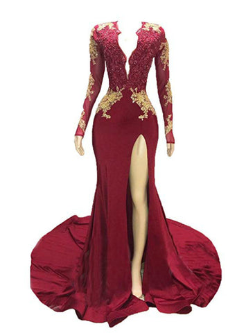 Sexy Burgundy Mermaid Deep V-neck Long Sleeve Backless Long Prom Dress