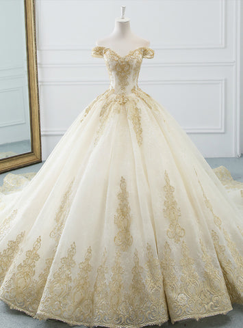 Charming Champagne Tulle Lace Appliques Off The Shoulder Wedding Dress With Train