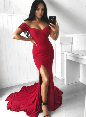 Simple Red Mermaid Off The Shoulder Floor Length Prom Dress