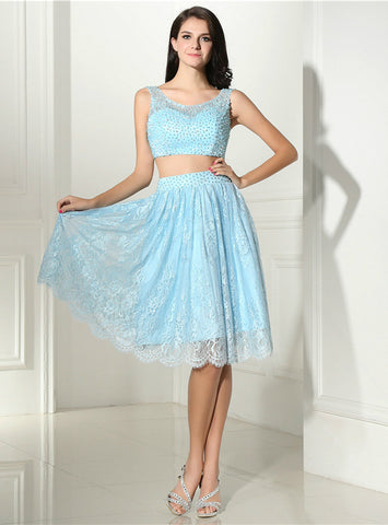 A-Line Blue Lace Two Piece Backless Homecoming Dress With Pearls