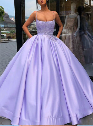 Purple Spaghetti Straps Satin Appliques Long Sweet 16 Dress With Pocket