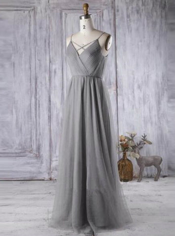 Impressive Simple Gray Tulle Bridesmaid Dress A Line V Neck Prom Dress