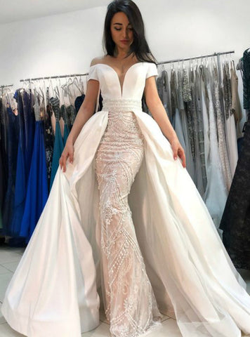 Mermaid Off the Shoulder Appliques With Beading Wedding Dress