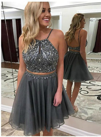 Dark Grey Two Piece Halter Backless Beaded Homecoming Dress