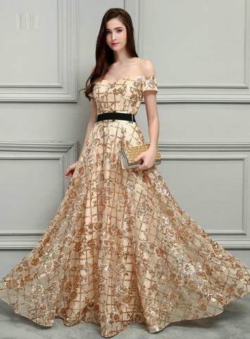 Gold Lace Long Short Sleeves Sexy Prom Gowns