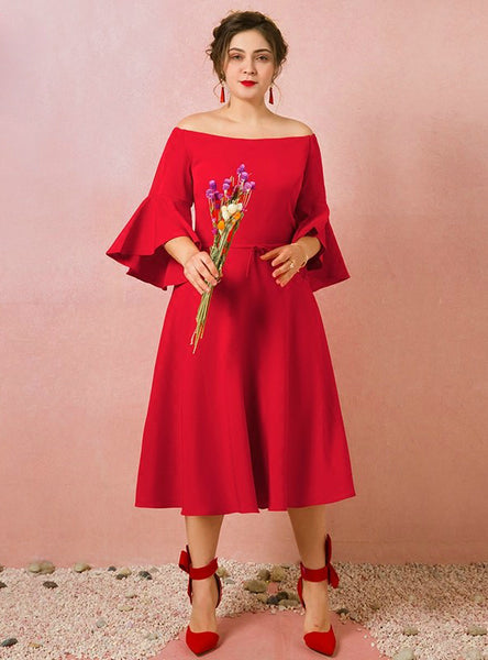 Plus Size Red Satin Off The Shoulder Long Sleeve Tea Length Prom Dress