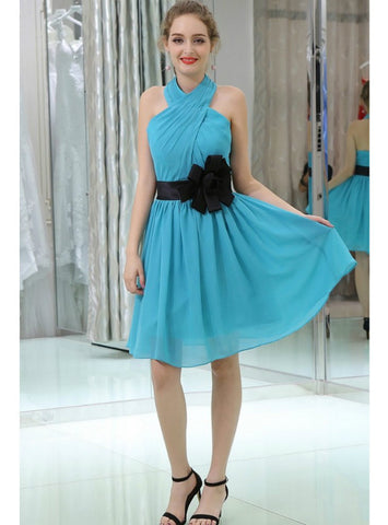 Blue Pleated Chiffon Homecoming Dress With Black Sash