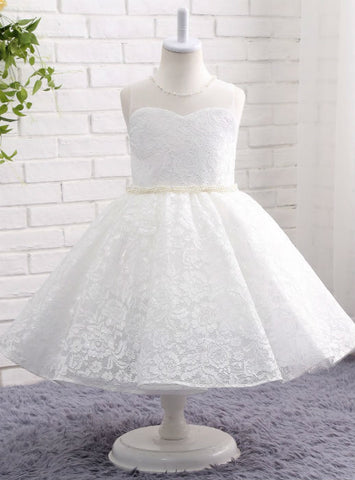 O-neck Lace Ball Gown with Pearl White / Ivory Flower Girl Dresses