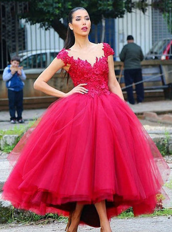 High quality Ball Gown Homecoming Party Dresses Hi-Lo Applique Sequined