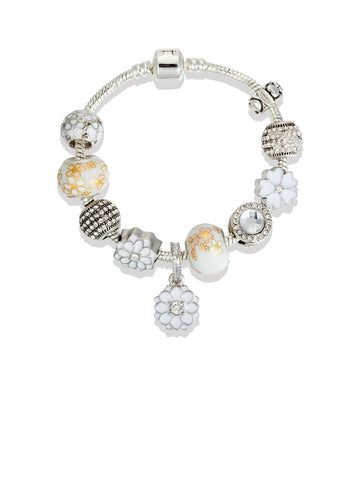 Silver Color Charm Bracelet For Women Flower Bracelet White Crystal Beads