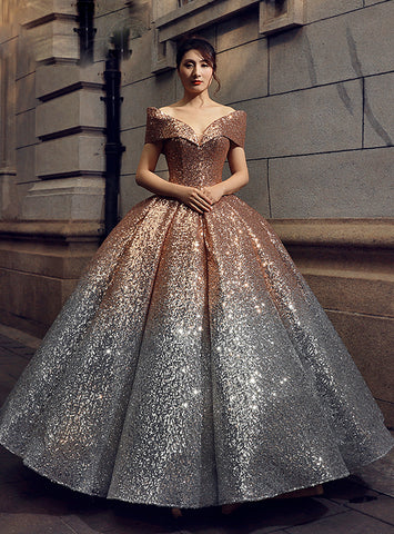 Ball Gown Gold Silver Sequins Off The Shoulder Floor Length Prom Dress